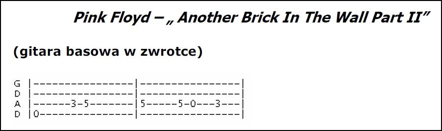 Tabulatura motywu gitary basowej do zwrotki utworu Another brick on the wall