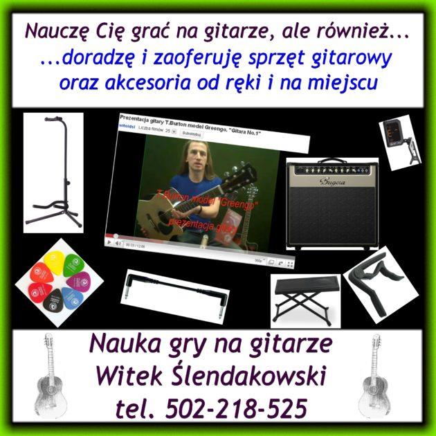 Nauczę Cię grać na gitarze, ale również doradzę i zaoferuję sprzęt gitarowy oraz akcesoria. Dostępne od ręki i na miejscu.