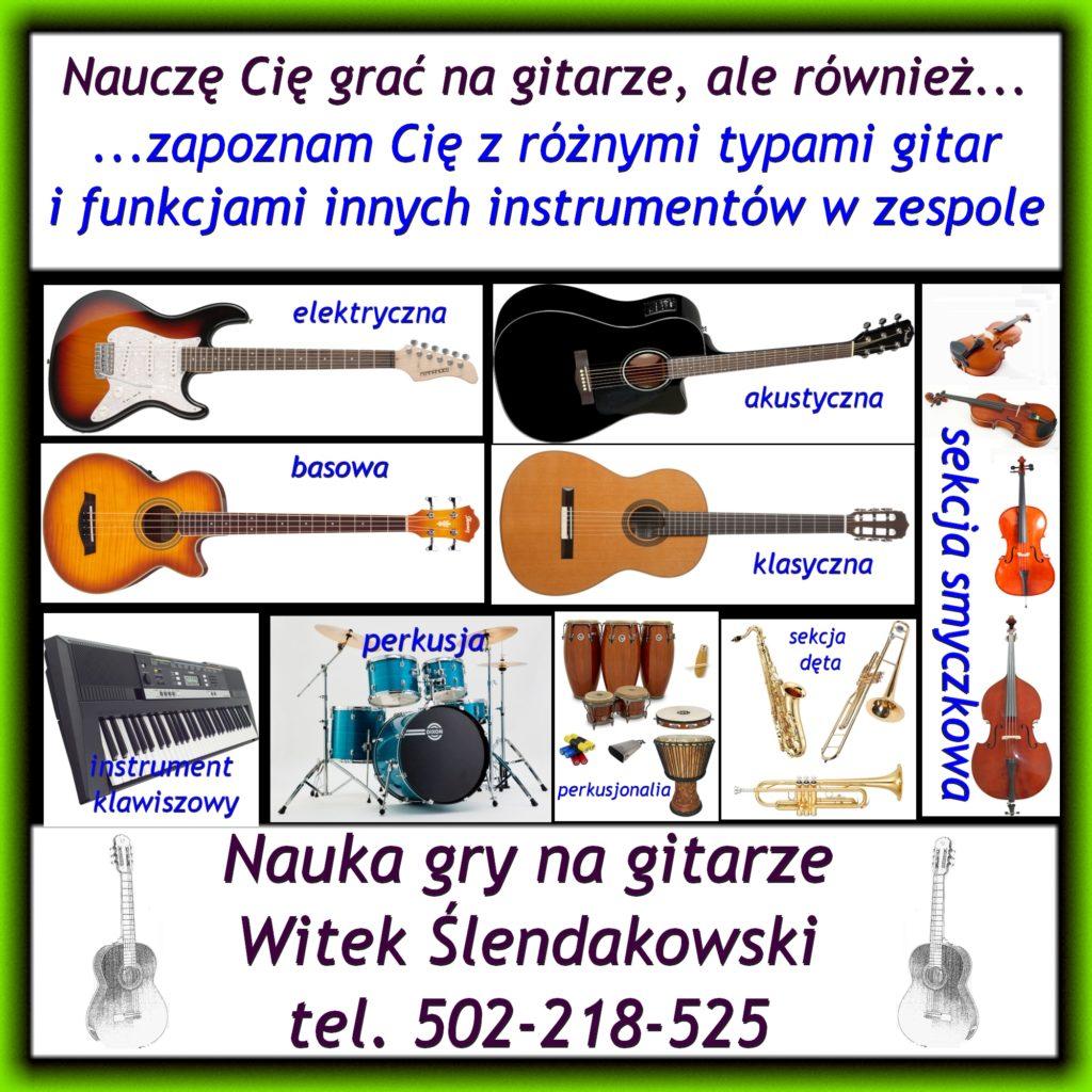 Nauczę Cię grać na gitarze, ale również zapoznam Cie z różnymi typami gitar i funkcjami innych instrumentów w zespole.